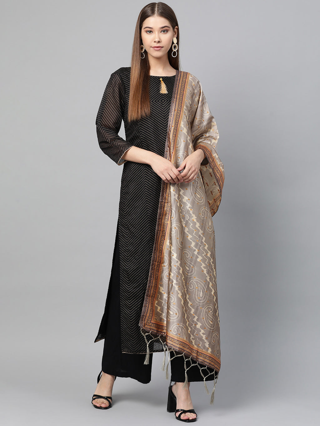 Grey Color Jacquard Silk Festive Wear Dupatta NYF-8202
