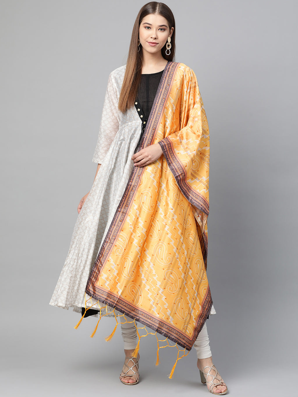 Yellow Color Jacquard Silk Festive Wear Dupatta NYF-8203