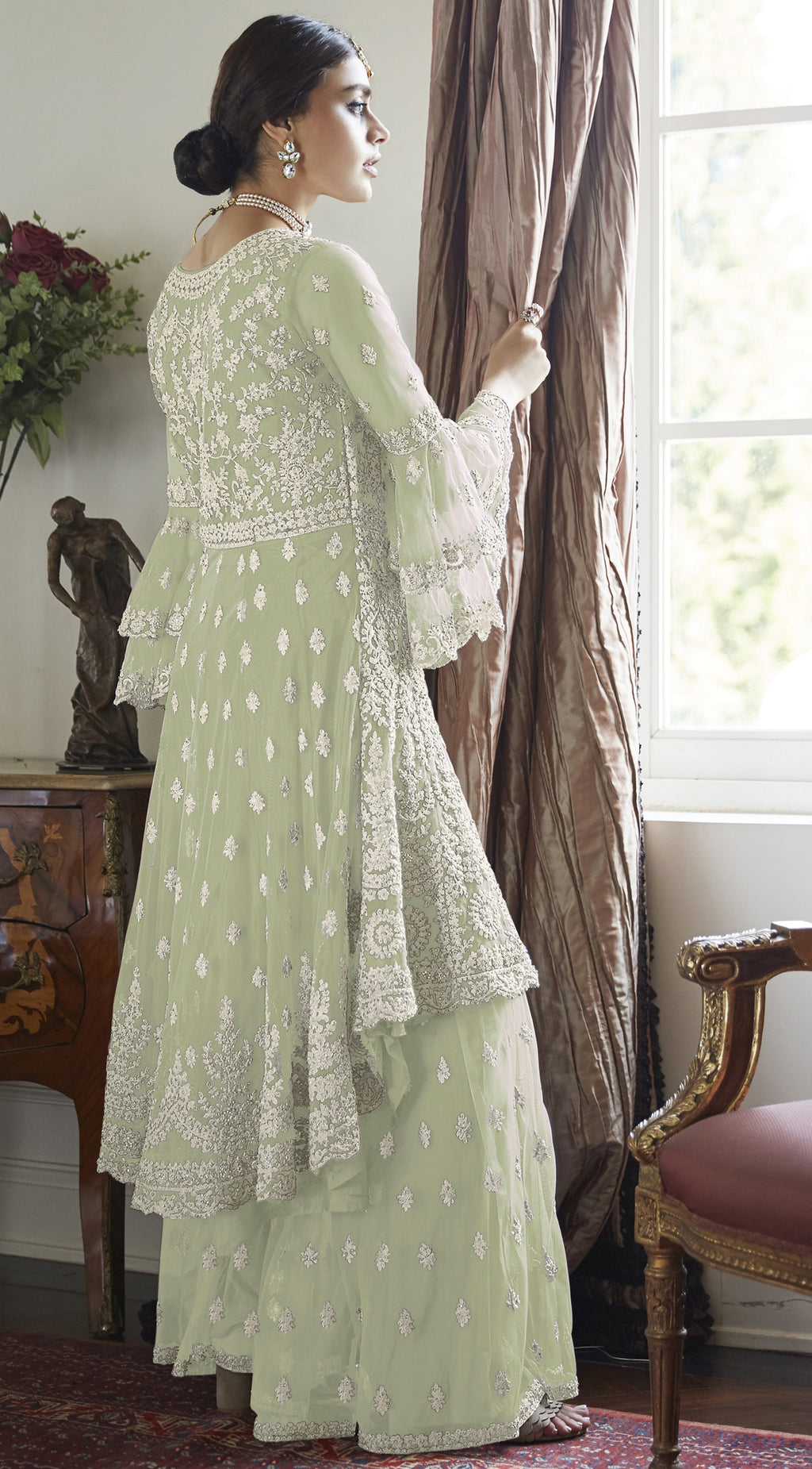 Pastel Green Color Net Designer Wedding Wear Semi-Stitched Suit NYF-8260