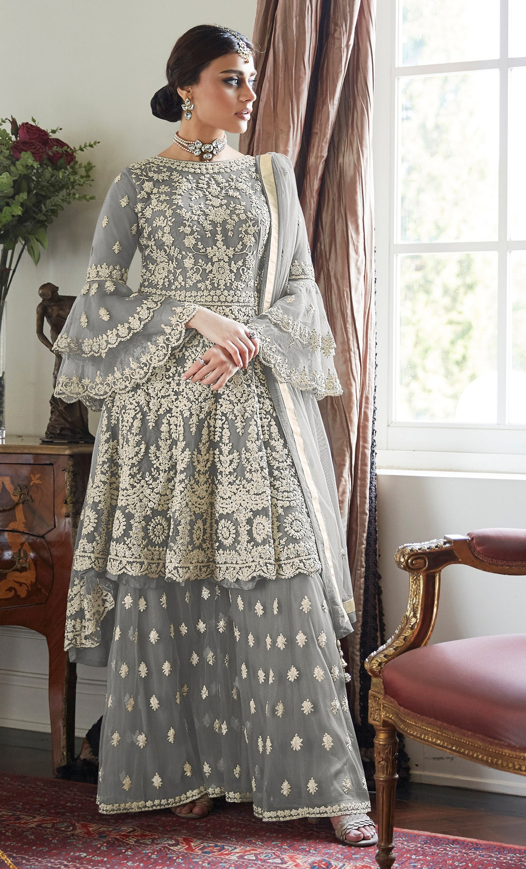 Grey Color Net Designer Wedding Wear Semi-Stitched Suit NYF-8261
