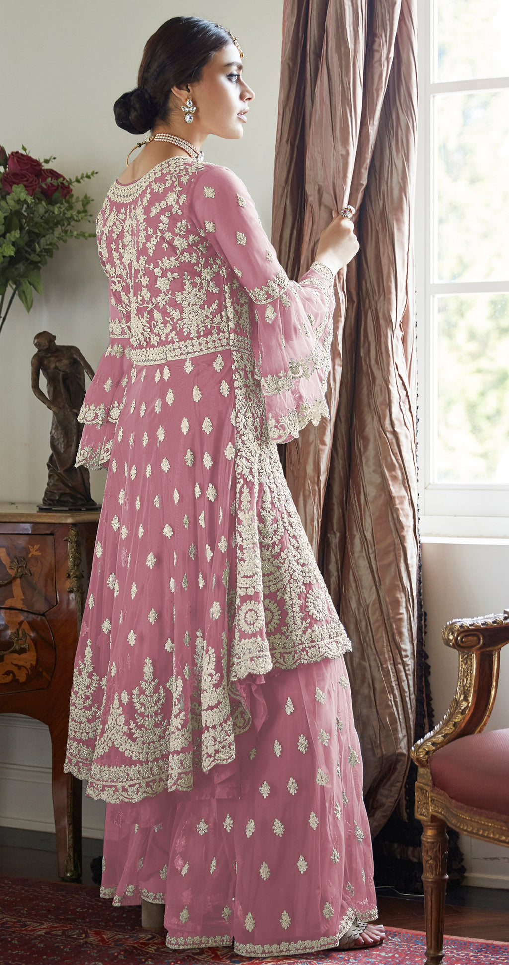 Pink Color Net Designer Wedding Wear Semi-Stitched Suit NYF-8262