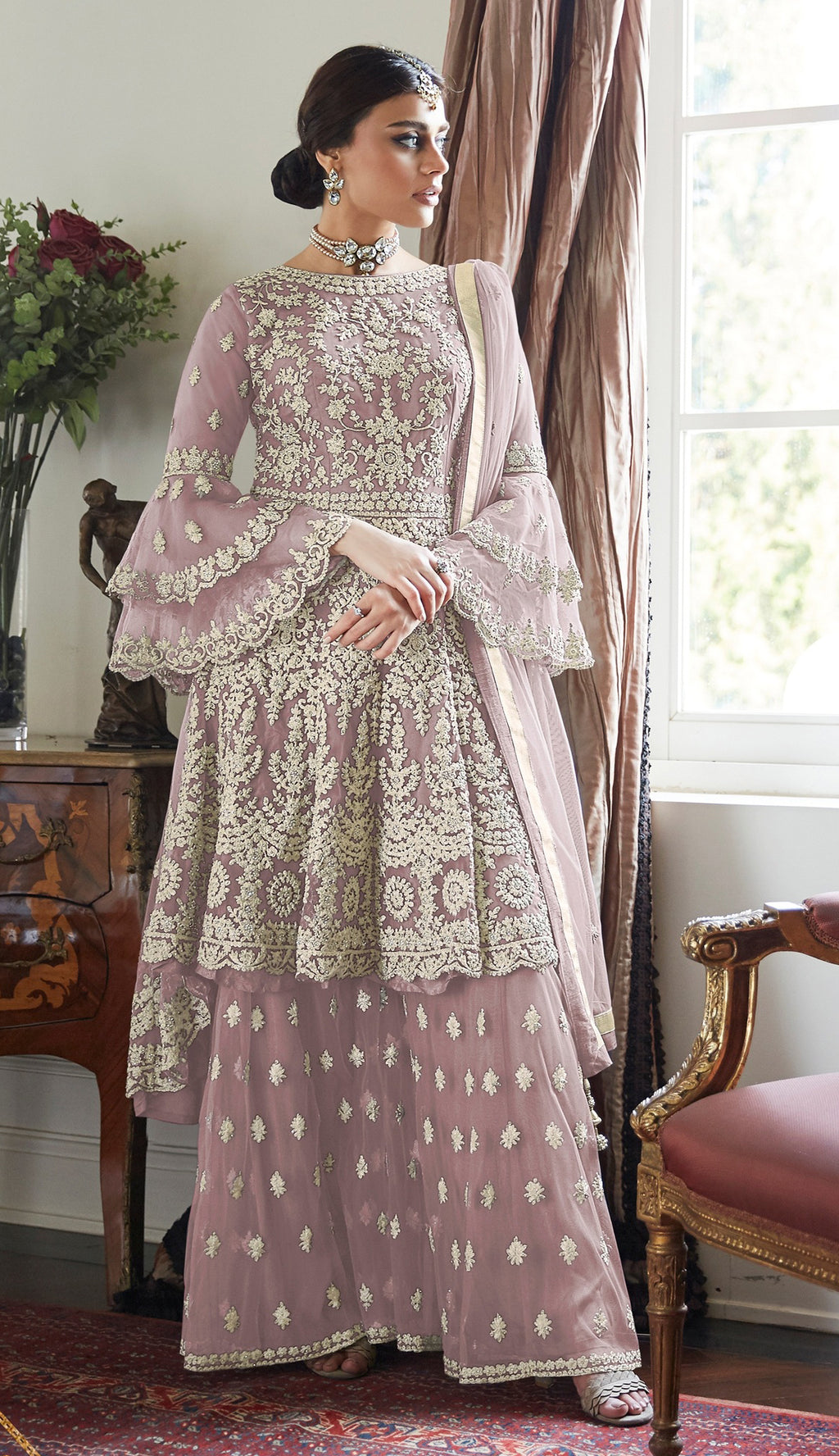 Lavender Color Net Designer Wedding Wear Semi-Stitched Suit NYF-8263