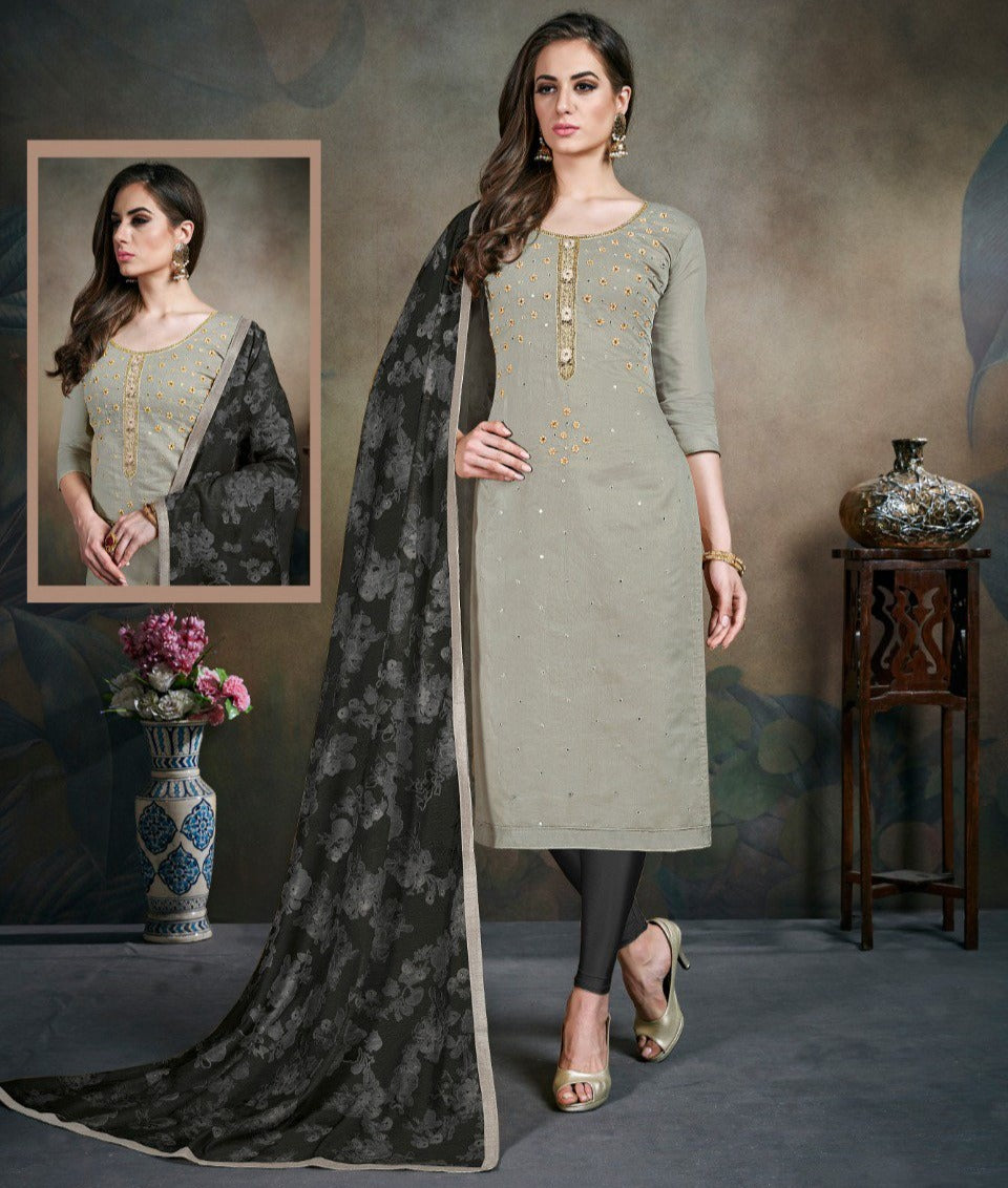 Grey Color Modal Silk Festive Wear Un-Stitched Suits NYF-8277