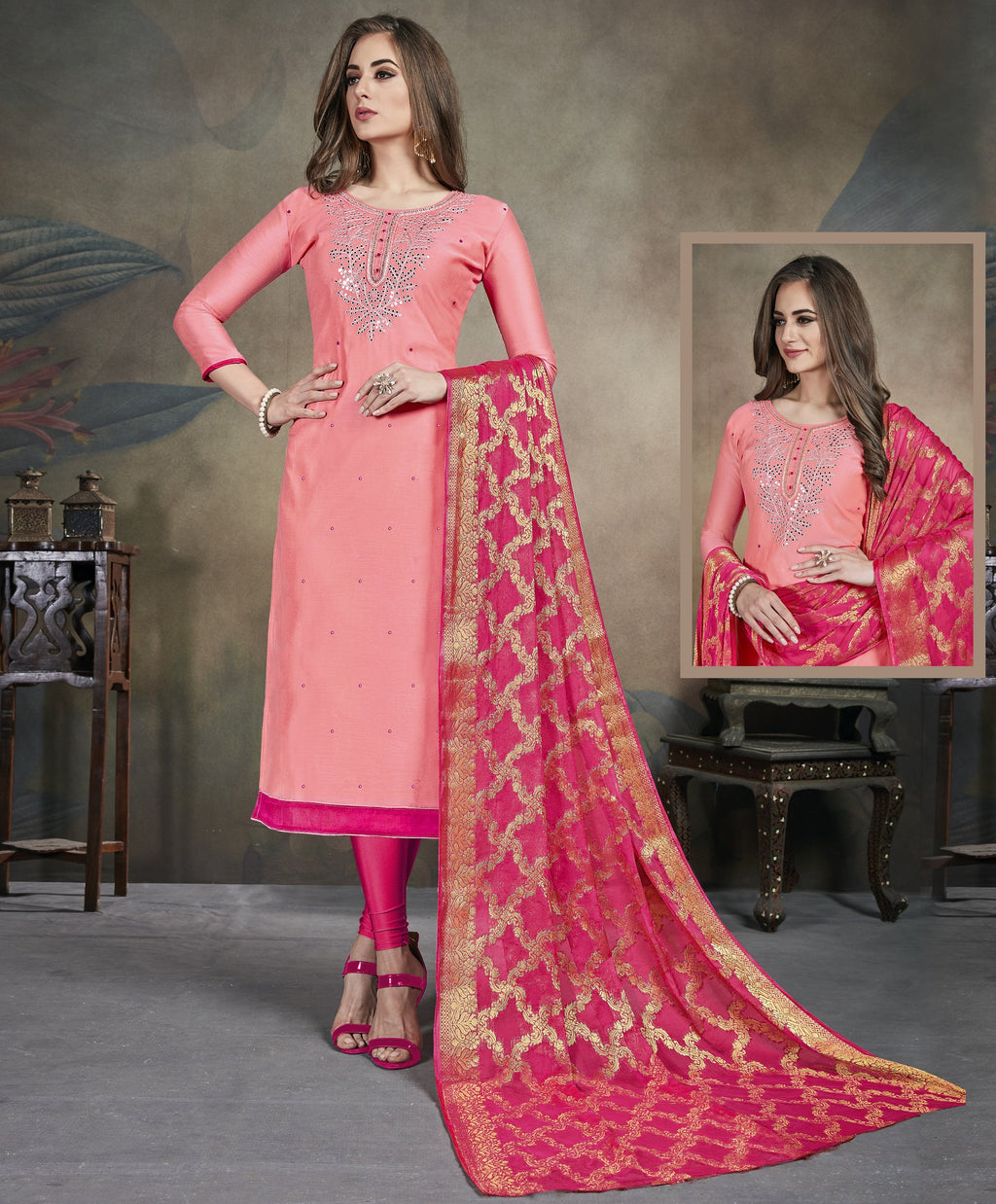 Pink Color Modal Silk Festive Wear Un-Stitched Suits NYF-8278