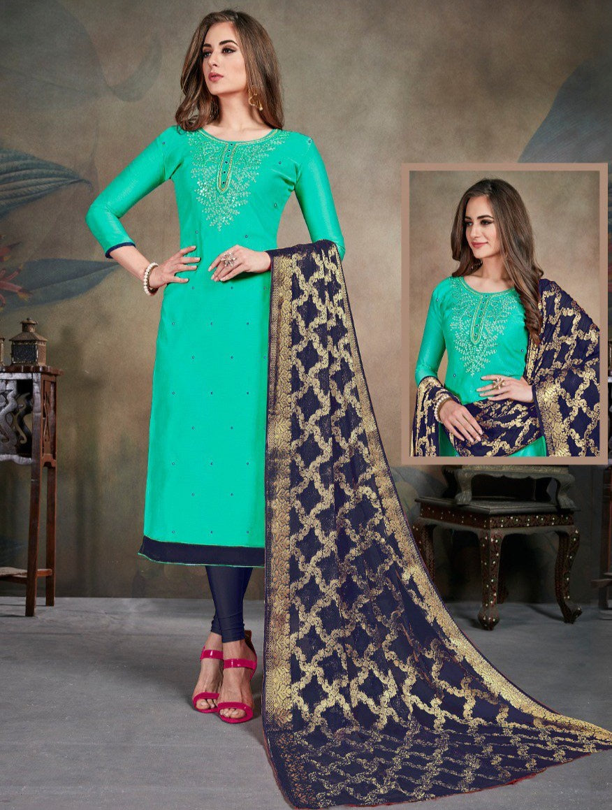 Sea Green Color Modal Silk Festive Wear Un-Stitched Suits NYF-8279