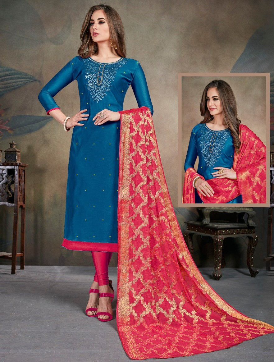 Blue Color Modal Silk Festive Wear Un-Stitched Suits NYF-8280
