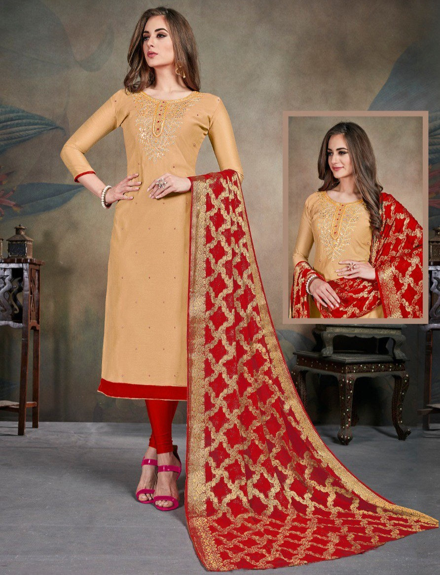 Beige Color Modal Silk Festive Wear Un-Stitched Suits NYF-8281
