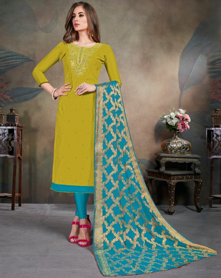 Pear Green Color Modal Silk Festive Wear Un-Stitched Suits NYF-8282