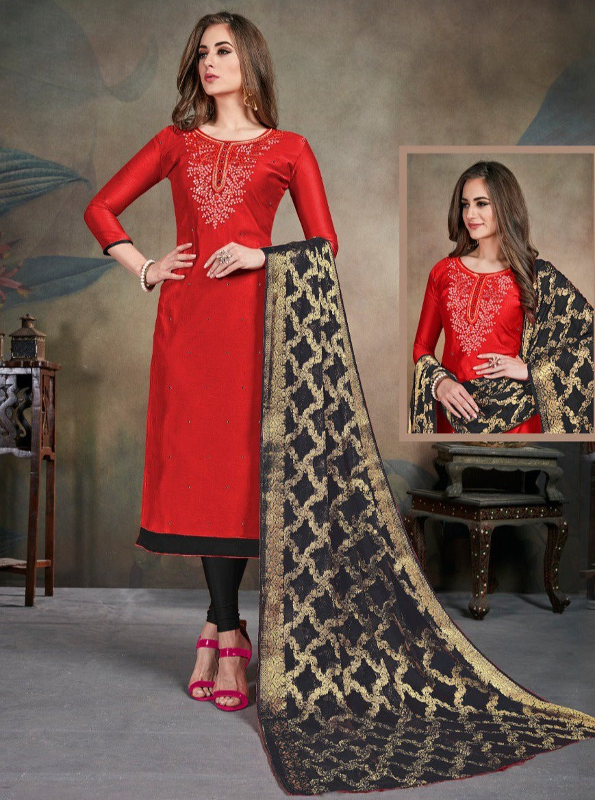 Red Color Modal Silk Festive Wear Un-Stitched Suits NYF-8283