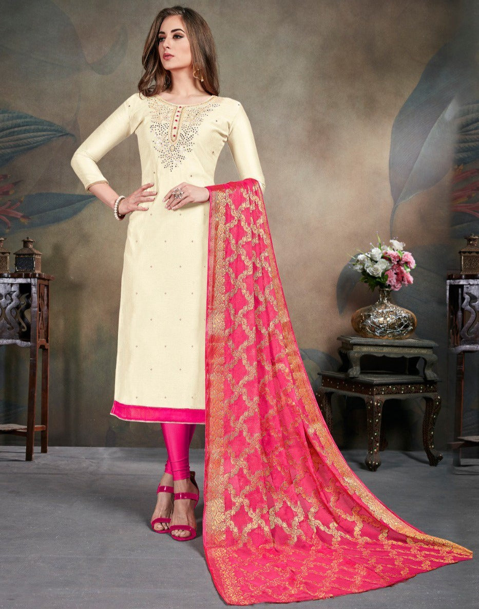 Cream Color Modal Silk Festive Wear Un-Stitched Suits NYF-8284