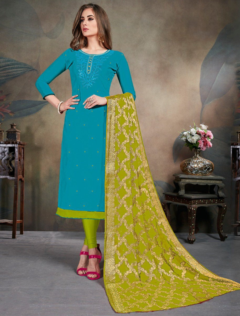 Blue Color Modal Silk Festive Wear Un-Stitched Suits NYF-8285