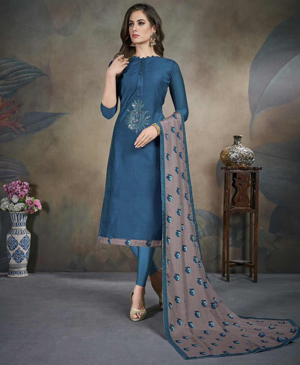 Blue Color Modal Silk Festive Wear Un-Stitched Suits NYF-8286
