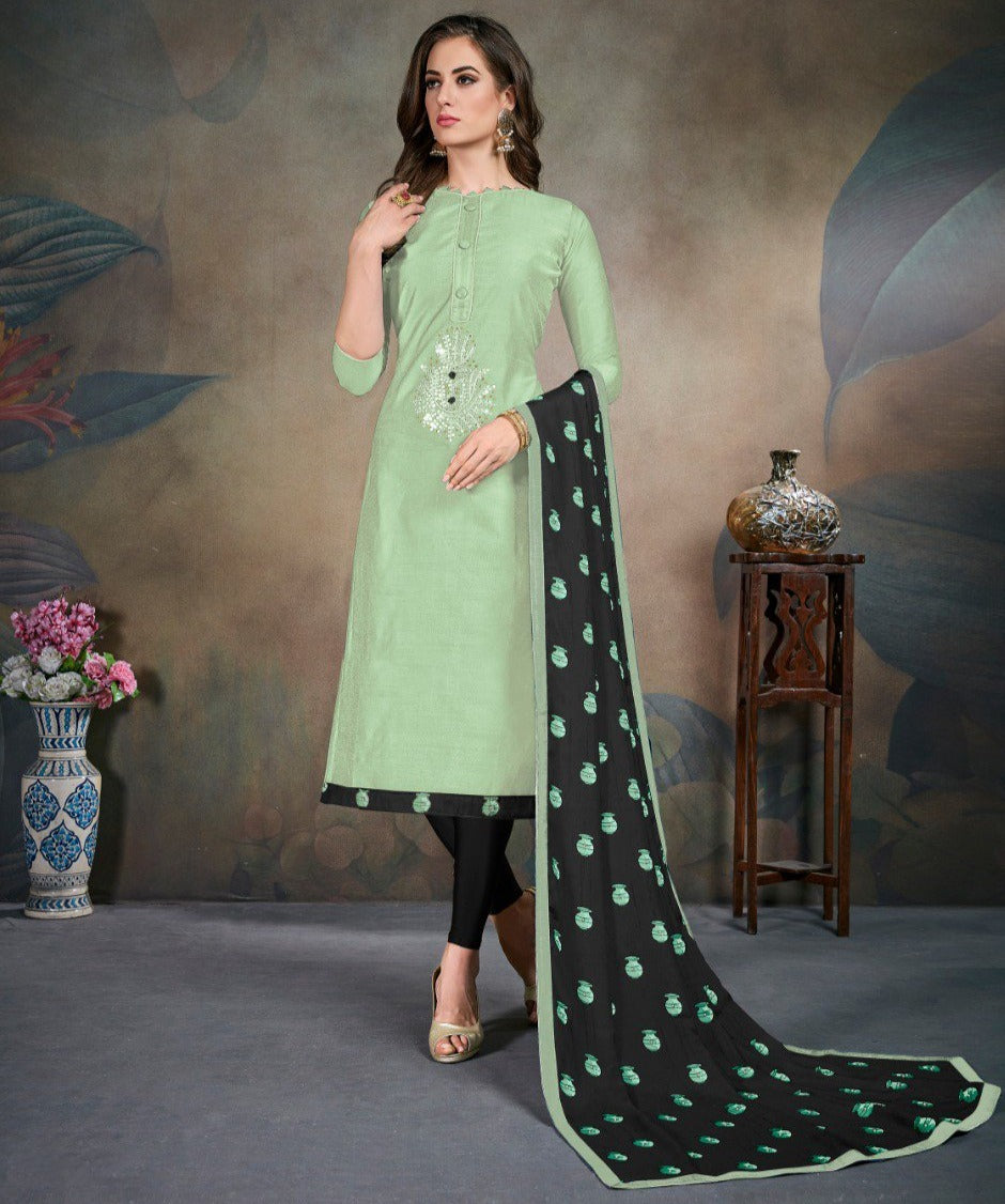 Pastel Green Color Modal Silk Festive Wear Un-Stitched Suits NYF-8287