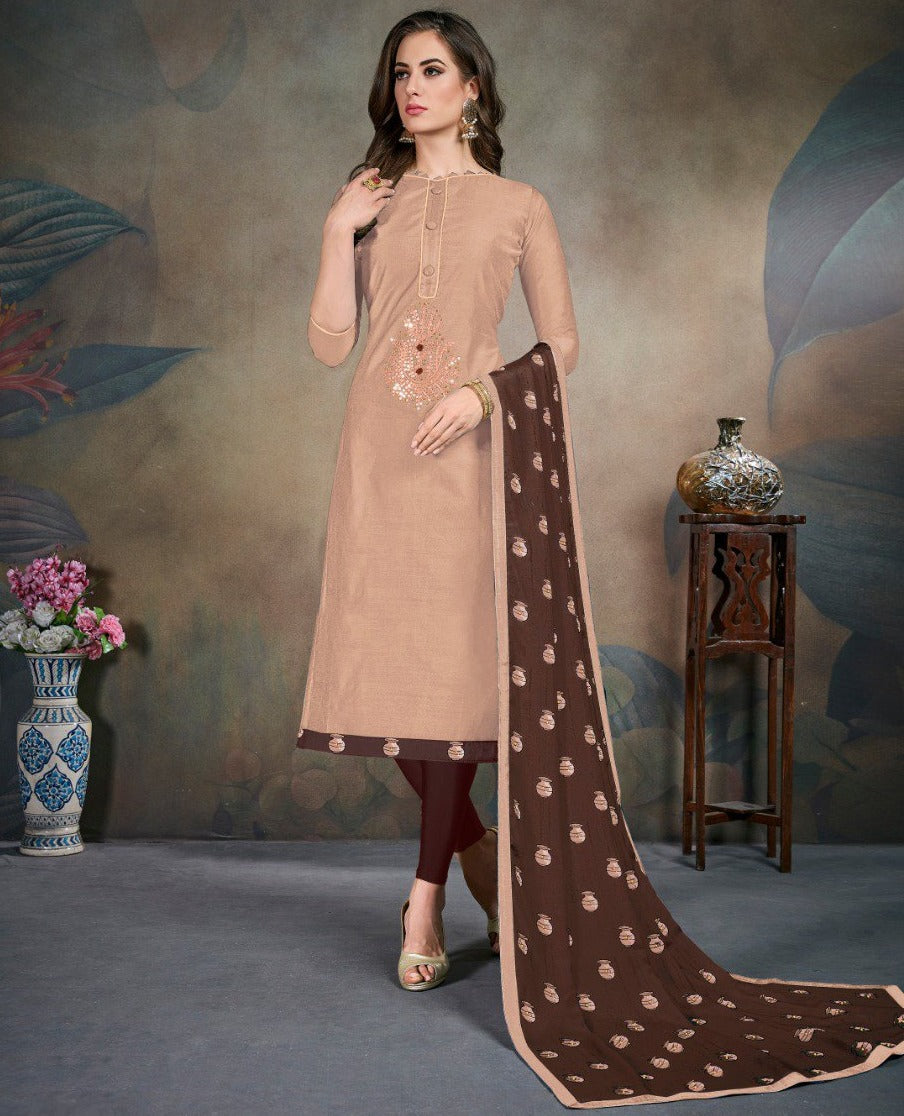 Beige Color Modal Silk Festive Wear Un-Stitched Suits NYF-8288