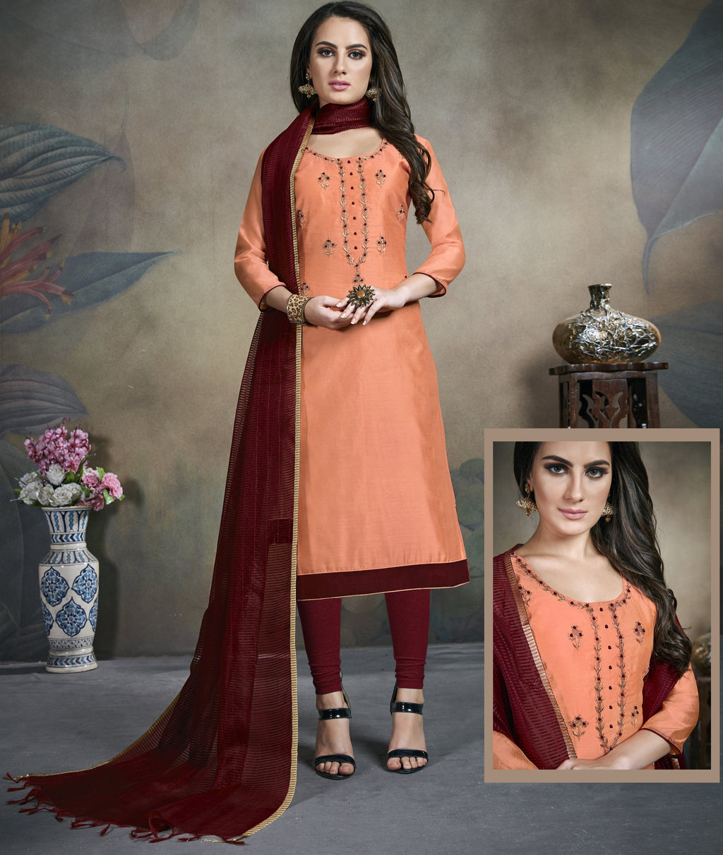 Peach Color Modal Silk Festive Wear Un-Stitched Suits NYF-8289