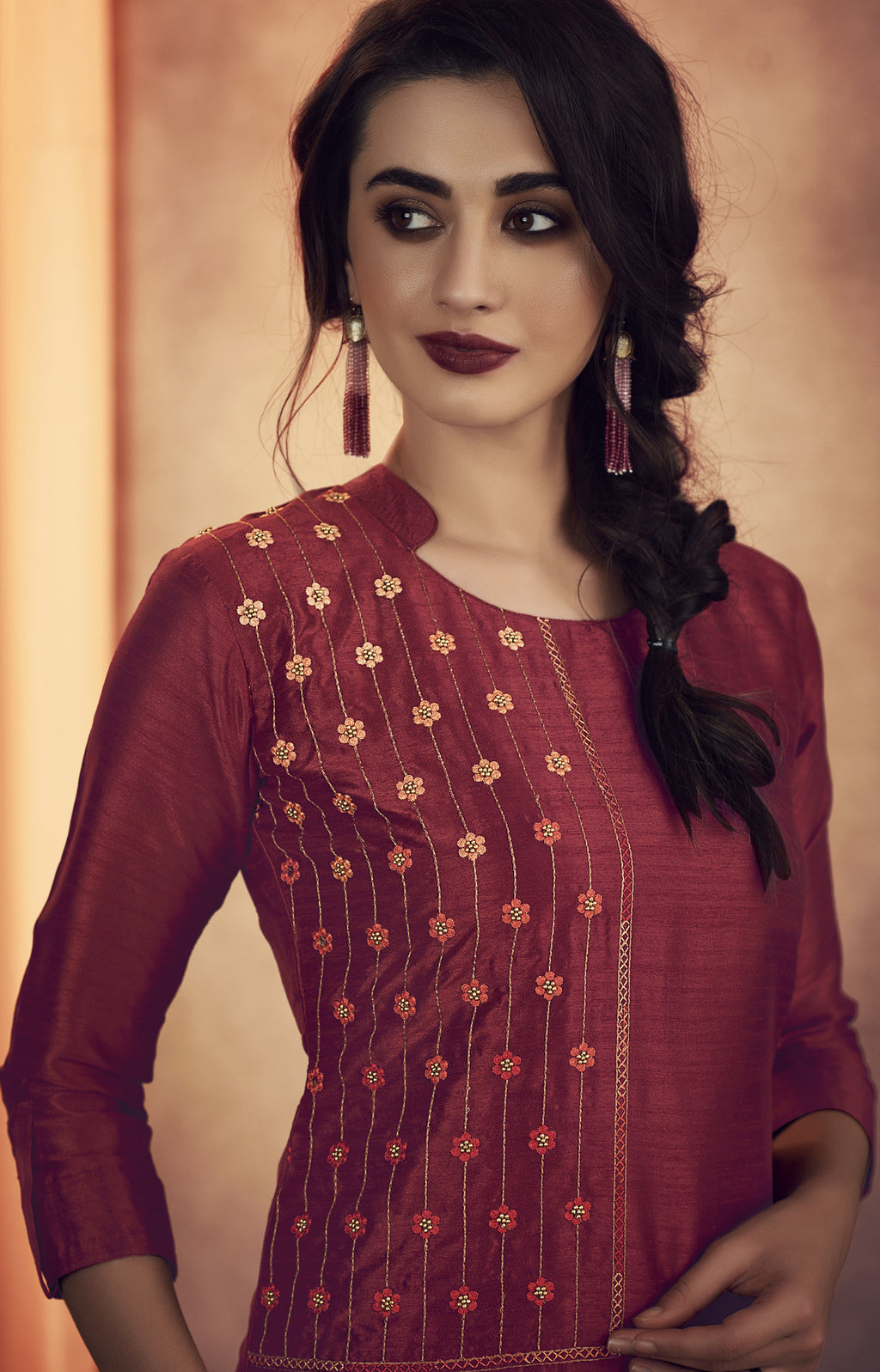 Maroon Color Soft Art Silk Designer Kurtis With Bottom : NYF-8311