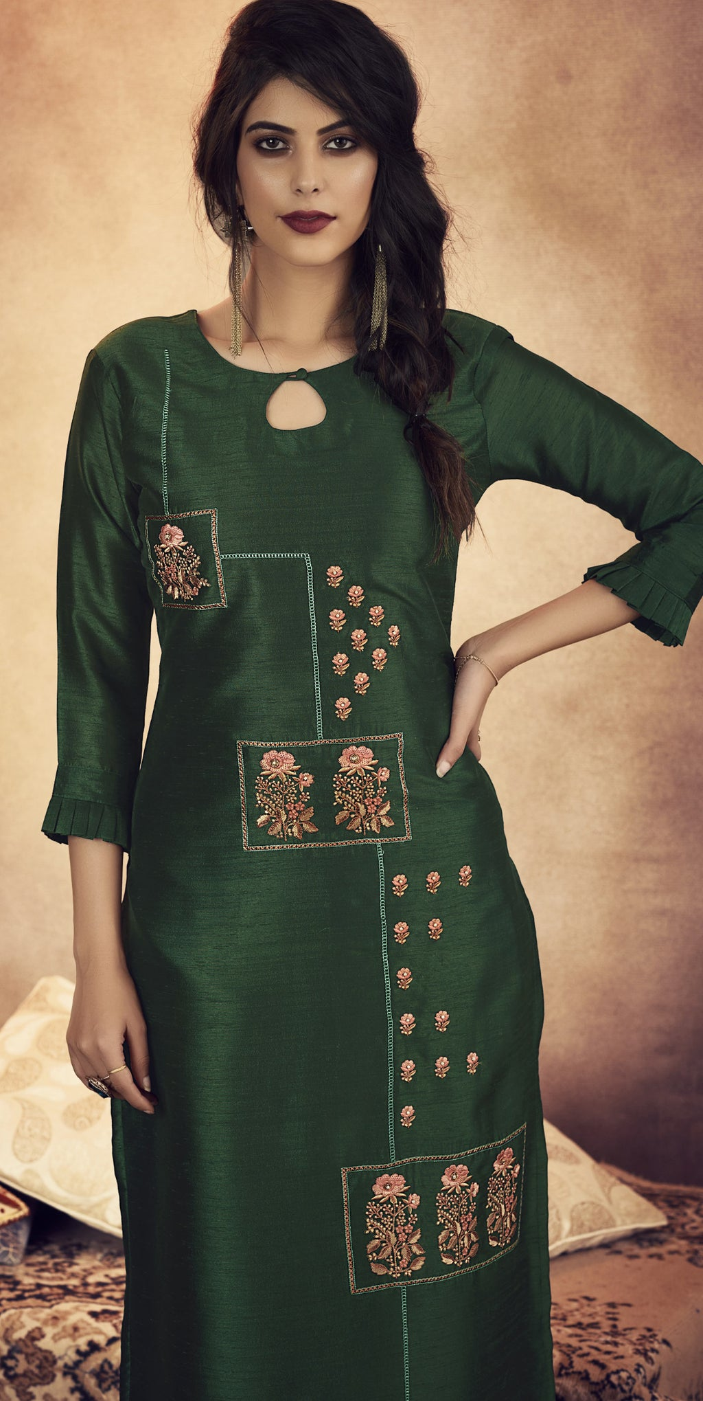 Bottle Green Color Soft Art Silk Designer Kurtis With Bottom : NYF-8315