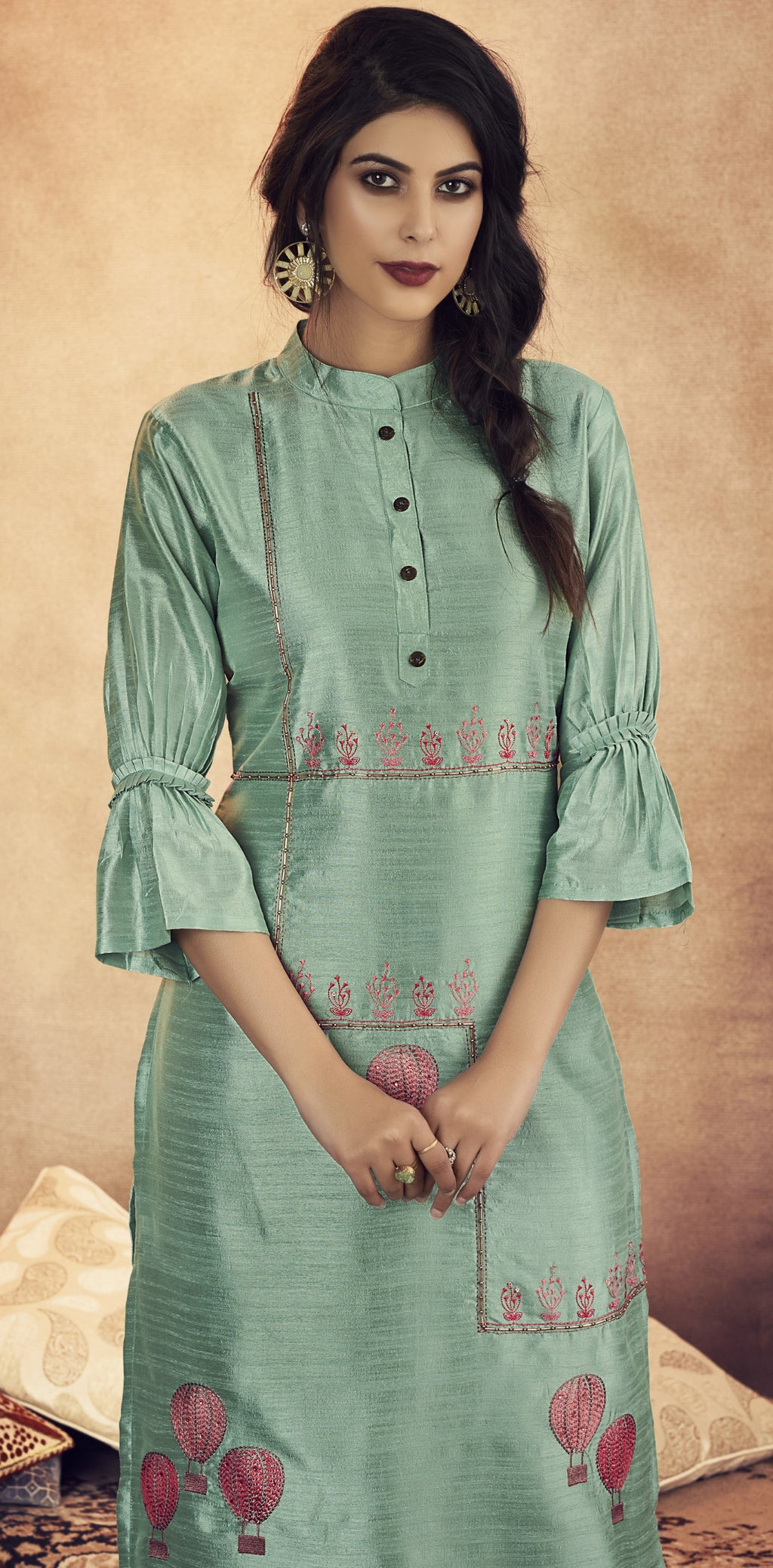 Baby Blue Color Soft Art Silk Designer Kurtis With Bottom : NYF-8319