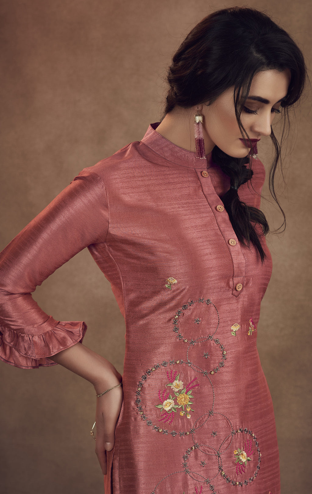 Pink Color Soft Art Silk Designer Kurtis With Bottom : NYF-8323