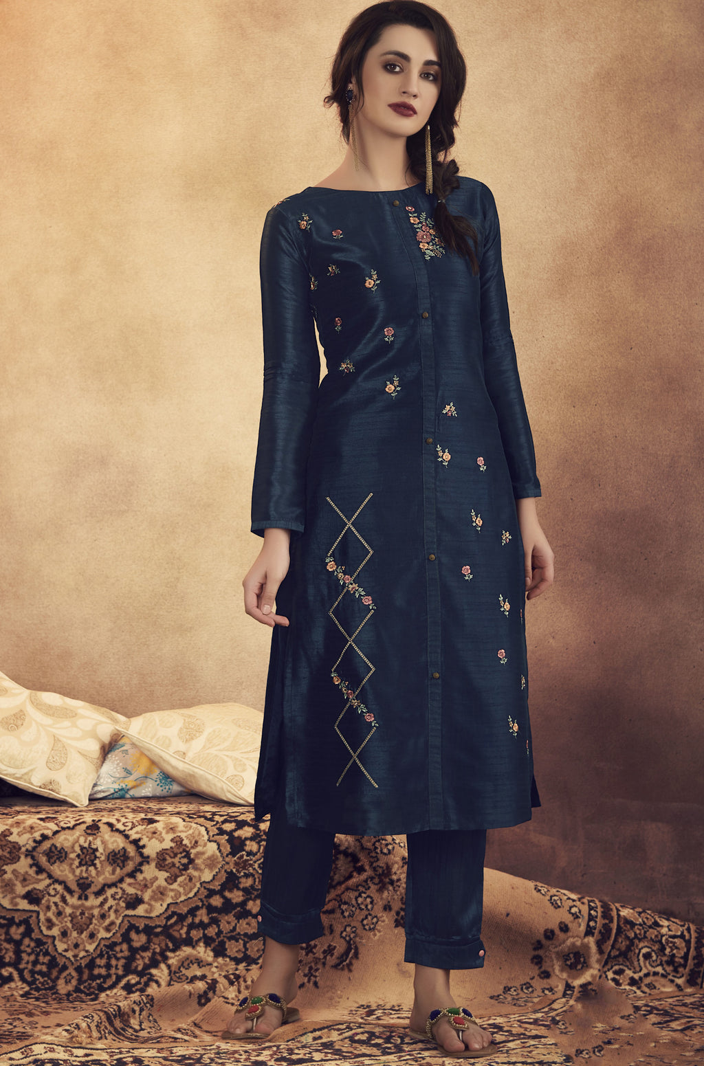 Blue Color Soft Art Silk Designer Kurtis With Bottom : NYF-8327