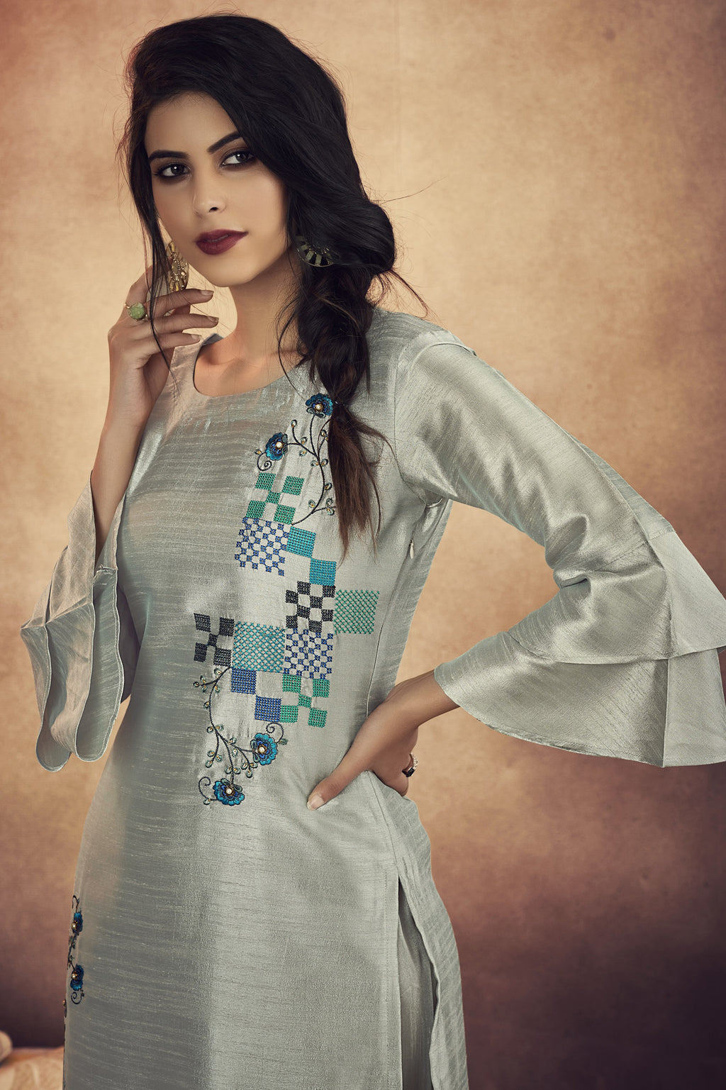 Steel Grey Color Soft Art Silk Designer Kurtis With Bottom : NYF-8331