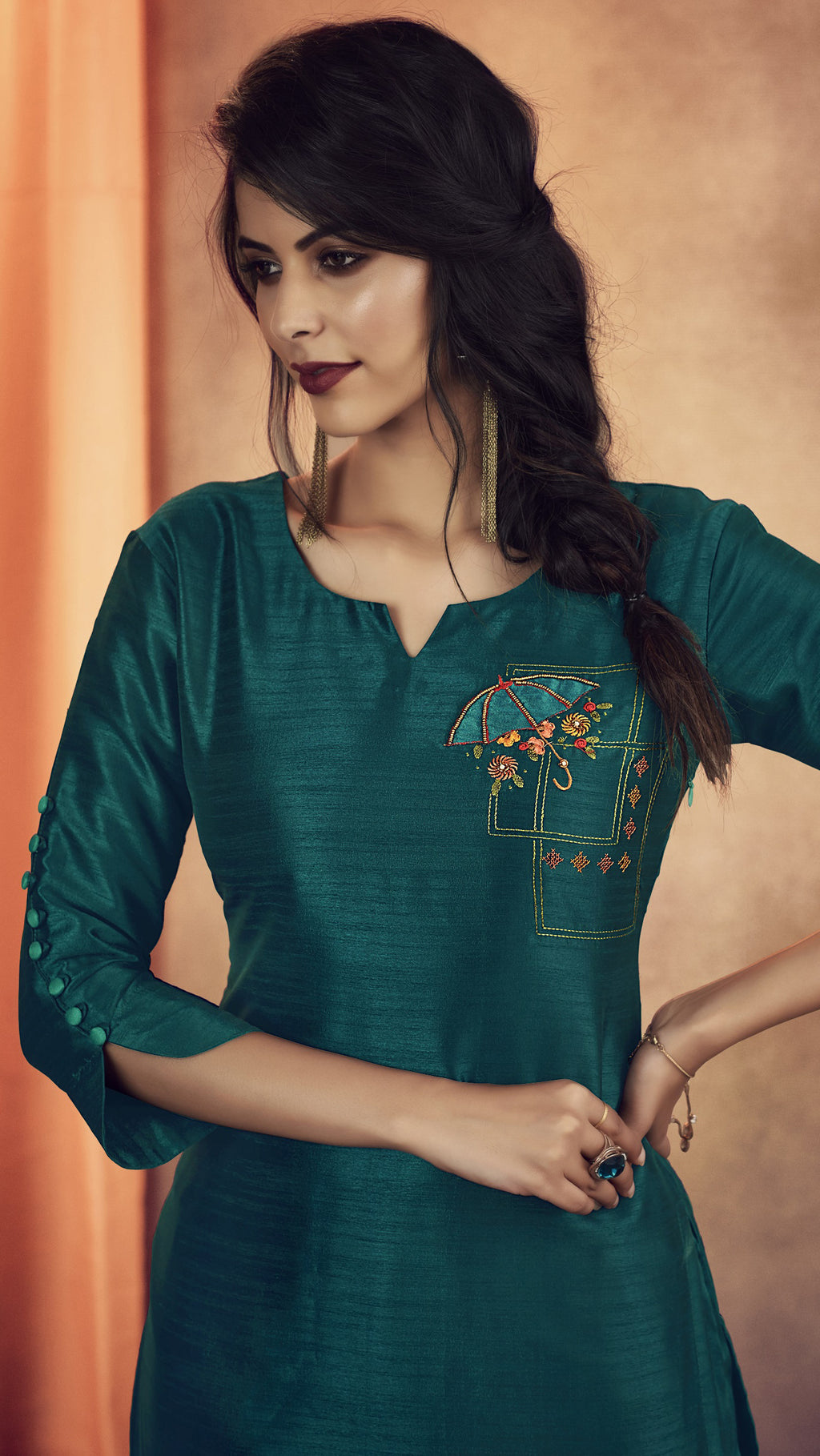 Rama Green Color Soft Art Silk Designer Kurtis With Bottom : NYF-8339