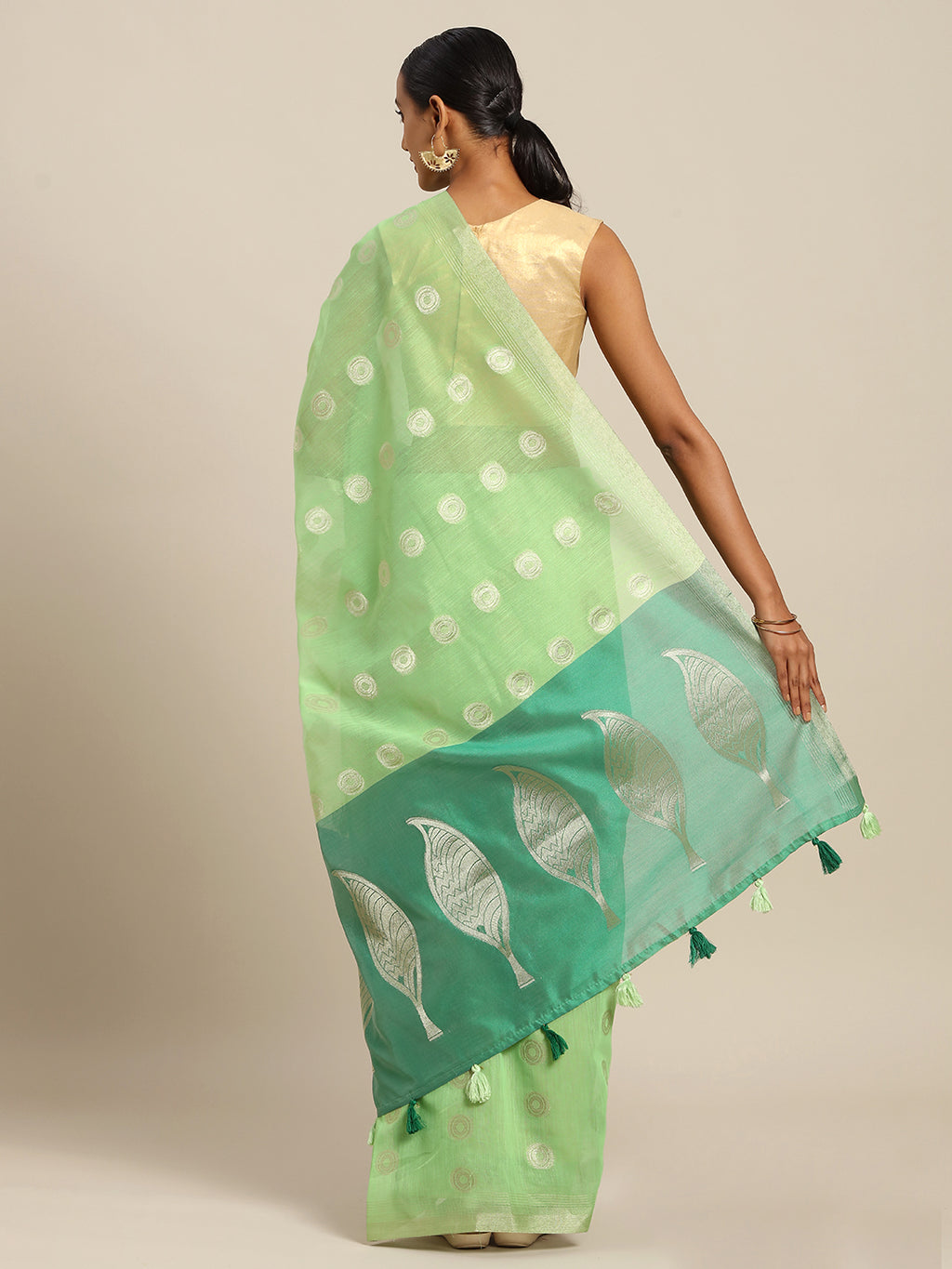 Pastel Green Color Linen Cotton Party Wear Sarees NYF-8379