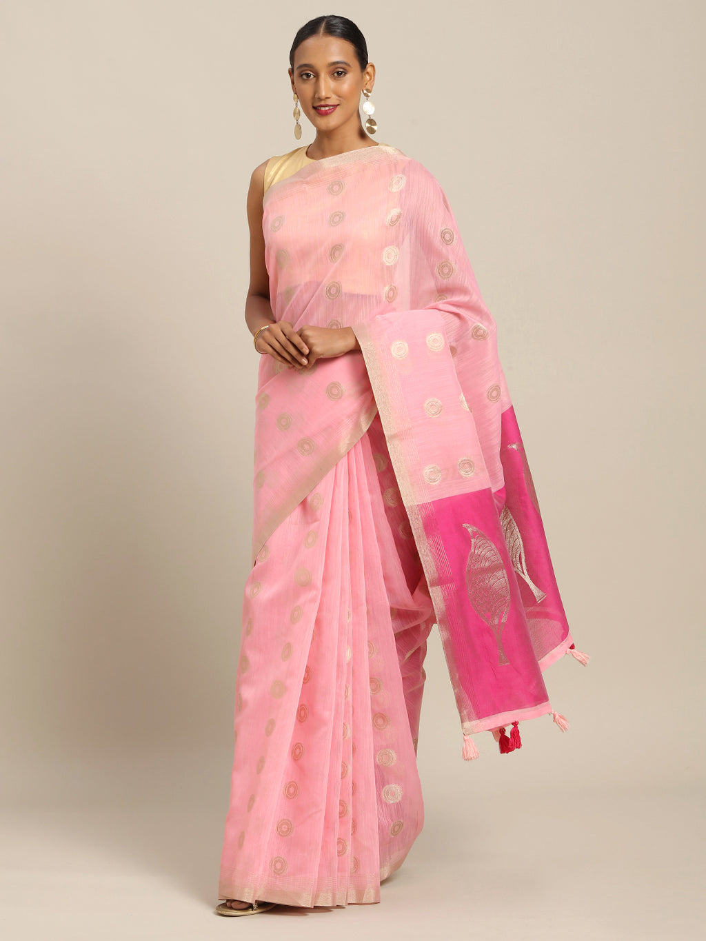 Baby Pink Color Linen Cotton Party Wear Sarees NYF-8384