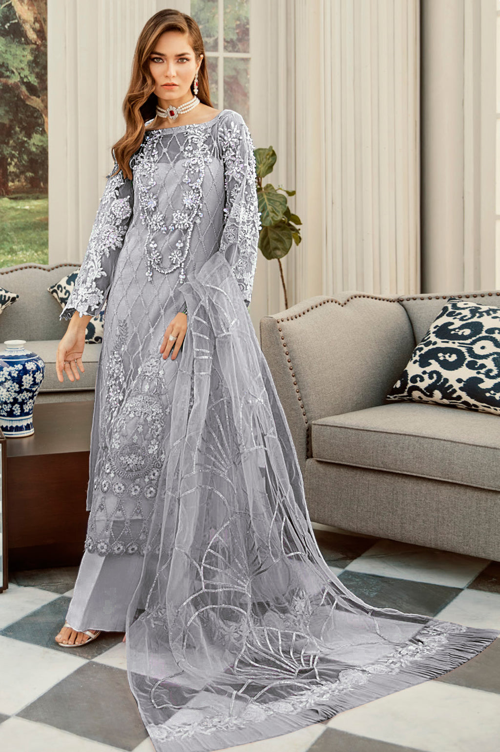 Grey Color Net Designer Semi- Stitched Suit NYF-8457
