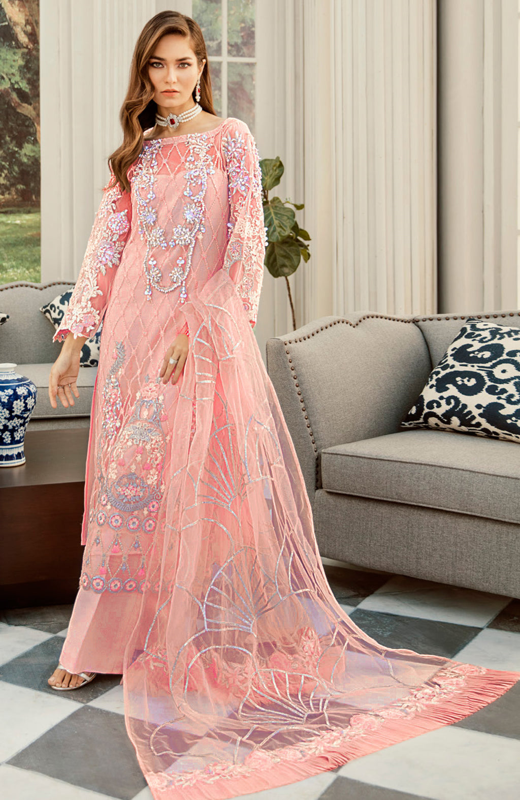 Peach Color Net Designer Semi- Stitched Suit NYF-8458