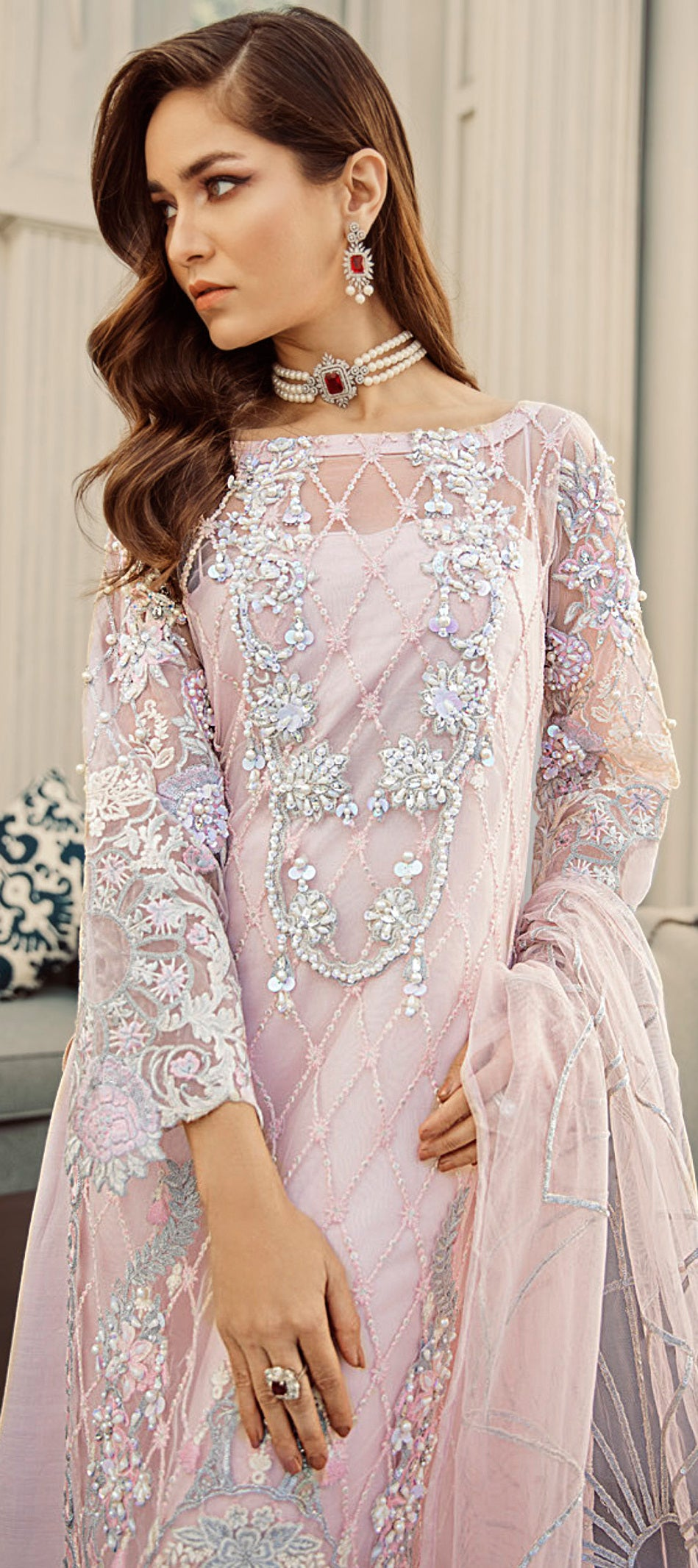 Baby Pink Color Net Designer Semi- Stitched Suit NYF-8459