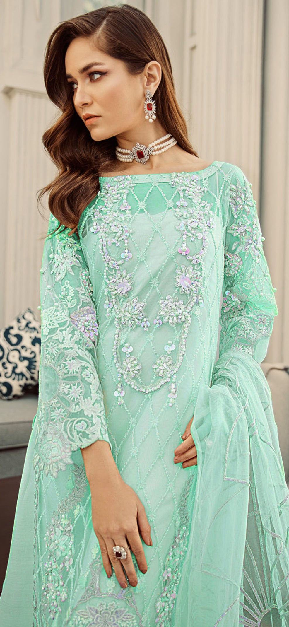 Aqua Green Color Net Designer Semi- Stitched Suit NYF-8460