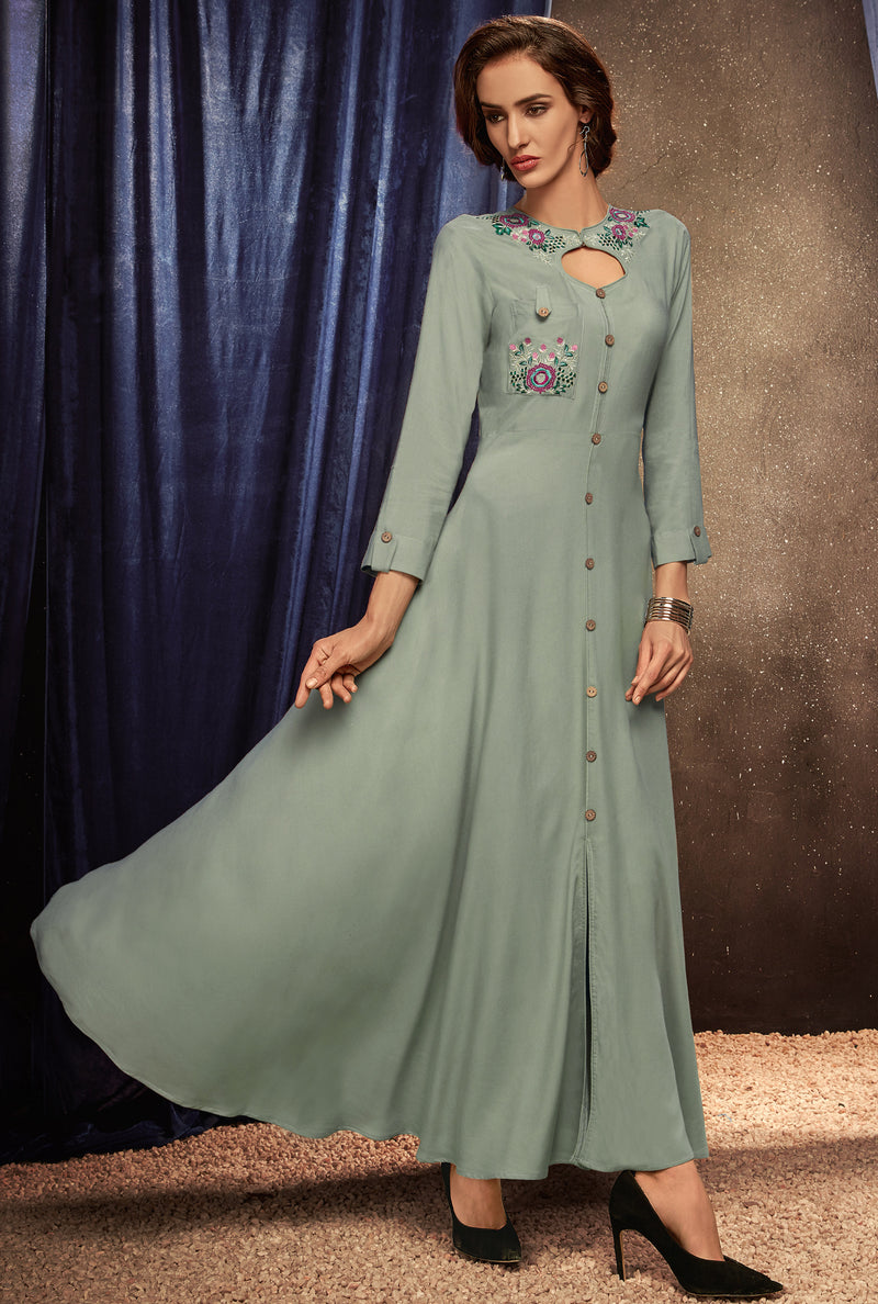 Grey Color Rayon Party Wear Gowns NYF-8445