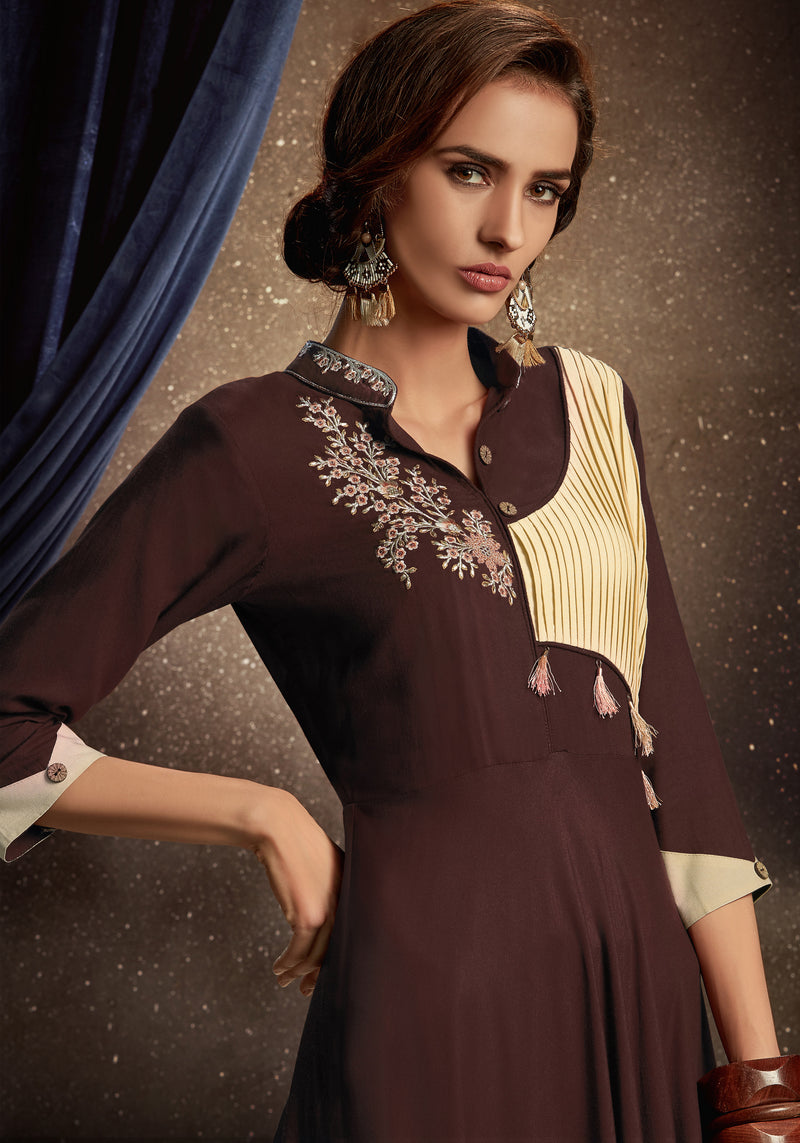 Brown Color Rayon Party Wear Gowns NYF-8448