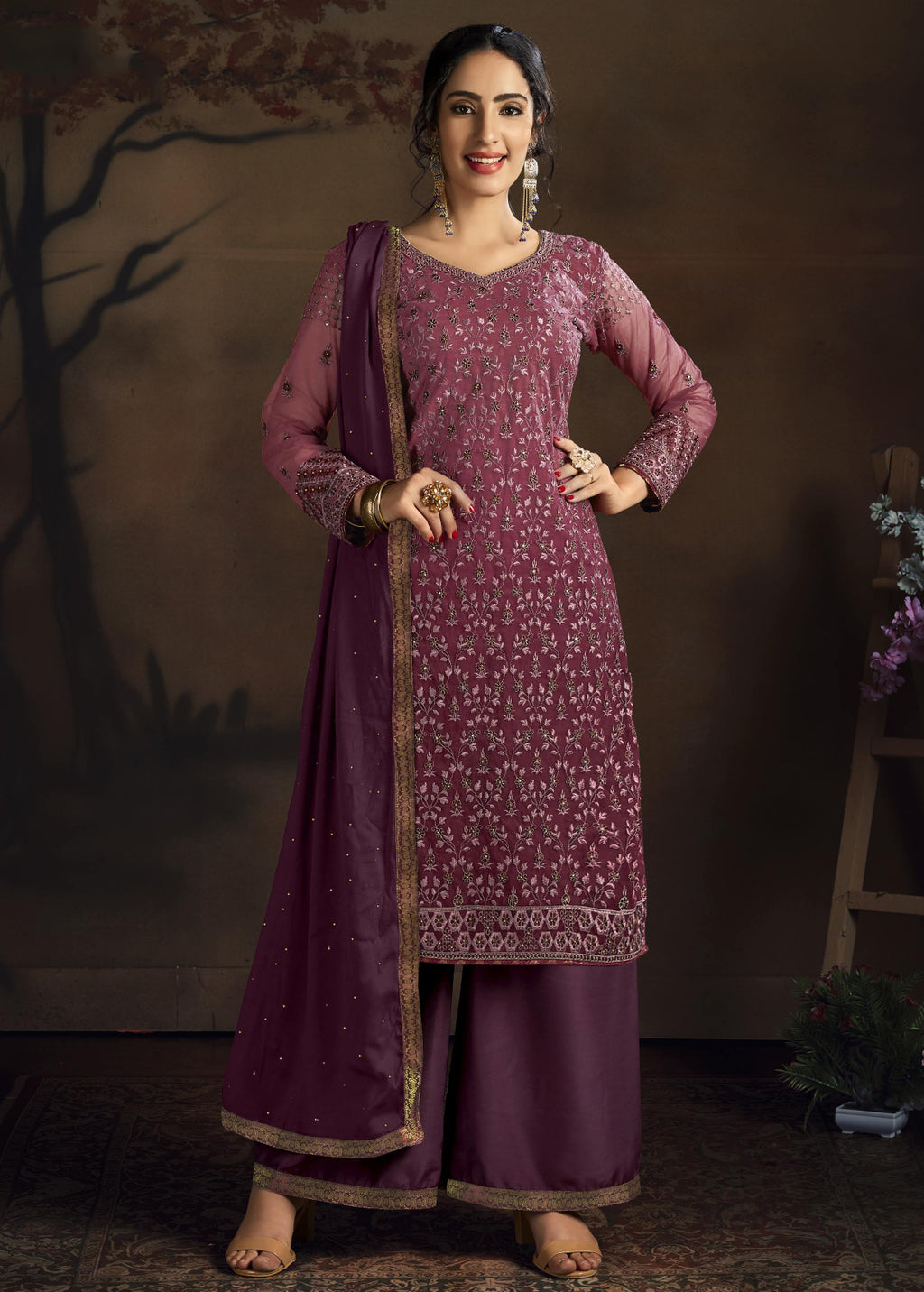 Wine Color Net Designer Straight Semi- Stitched Suit NYF-8461