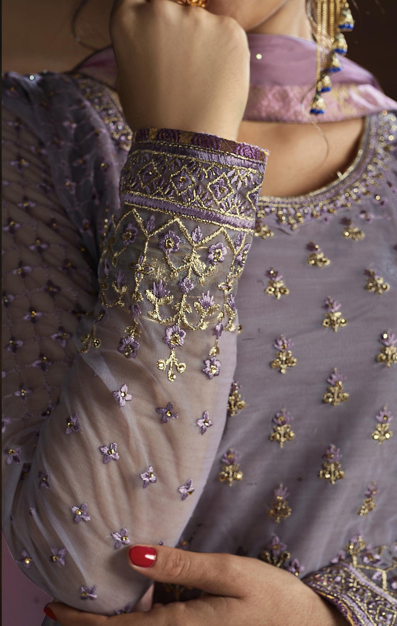 Lavender Color Net Designer Straight Semi- Stitched Suit NYF-8462