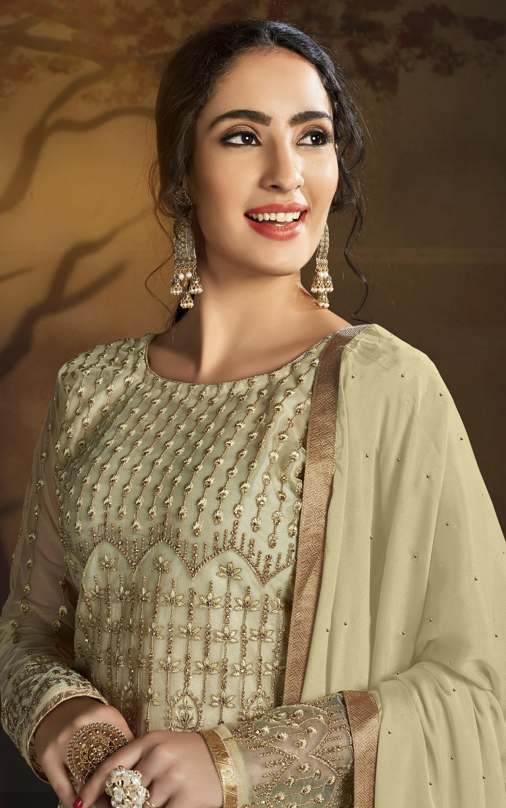 Cream Color Net Designer Straight Semi- Stitched Suit NYF-8463