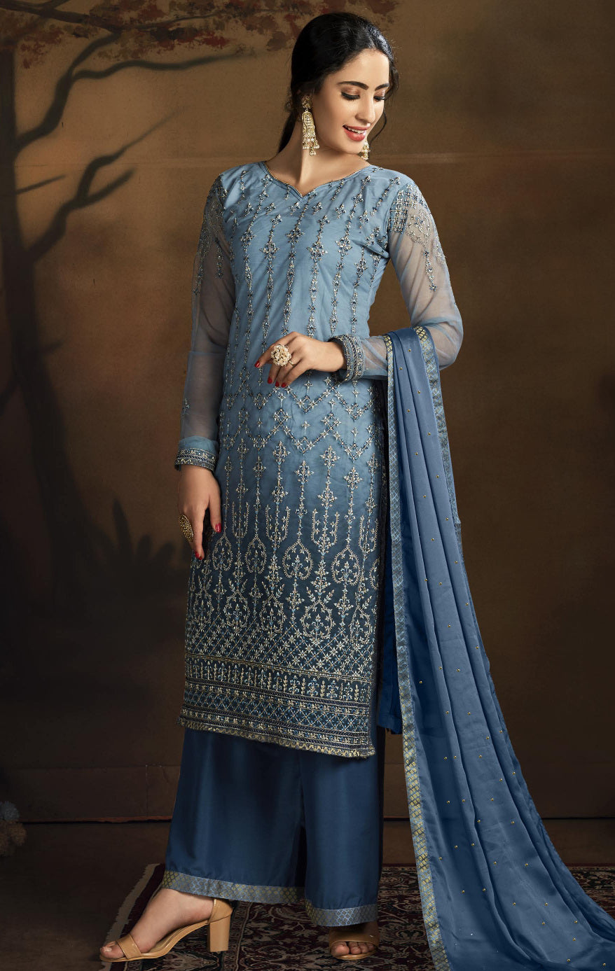 Blue Color Net Designer Straight Semi- Stitched Suit NYF-8464