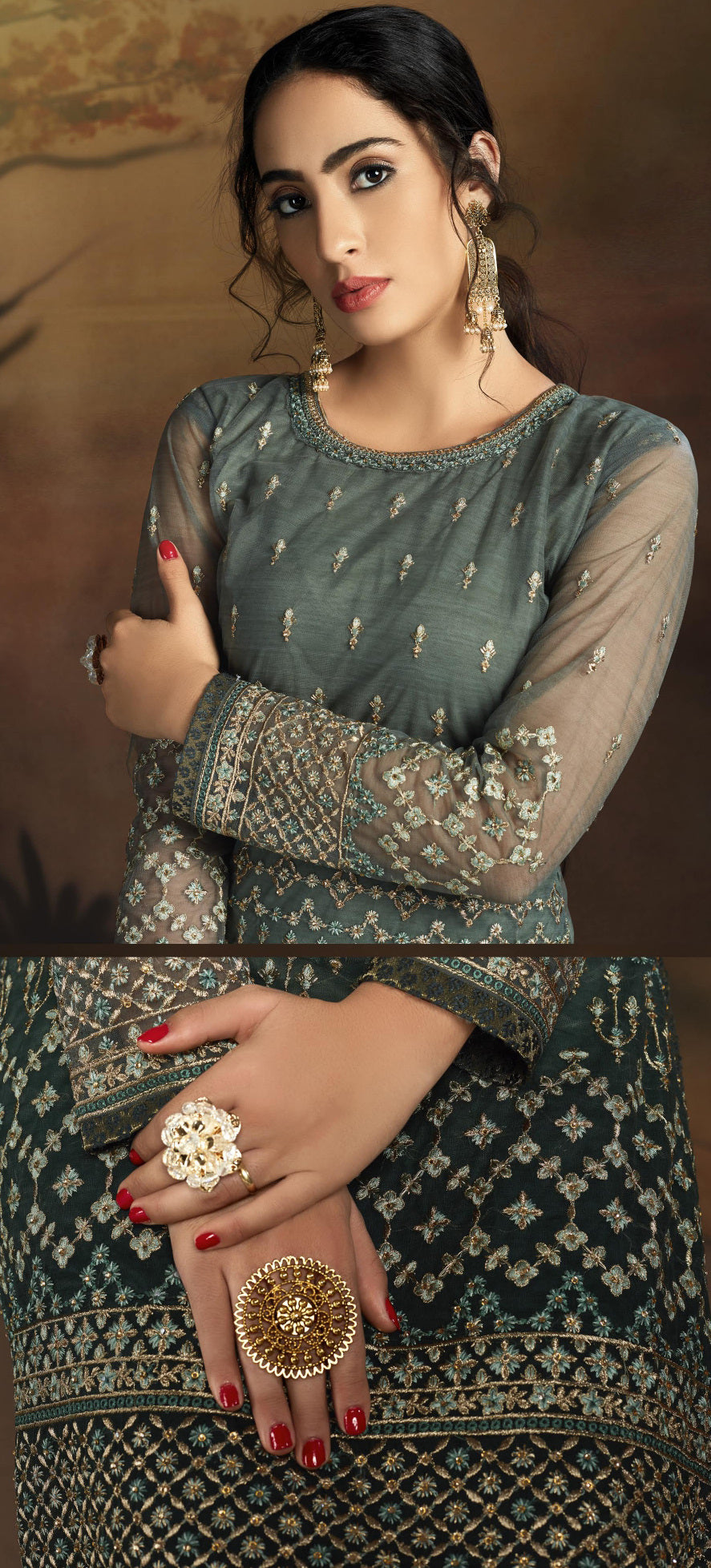 Green Color Net Designer Straight Semi- Stitched Suit NYF-8465