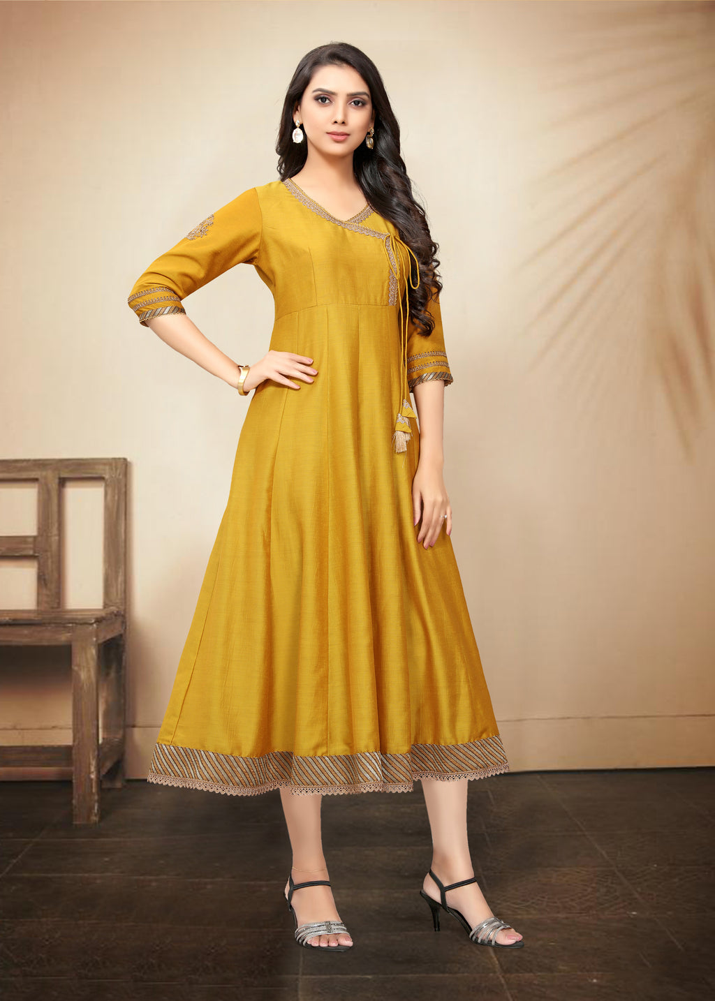 Yellow Color Tusser Art Silk Designer Festive Kurtis NYF-8433