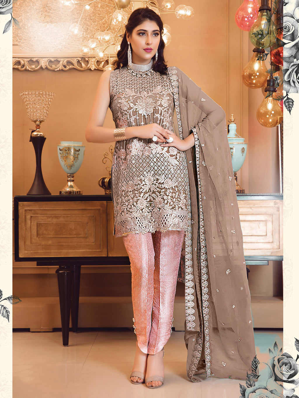 Light Brown Color Georgette Heavy Embroidered Semi- Stitched Suit NYF-8466