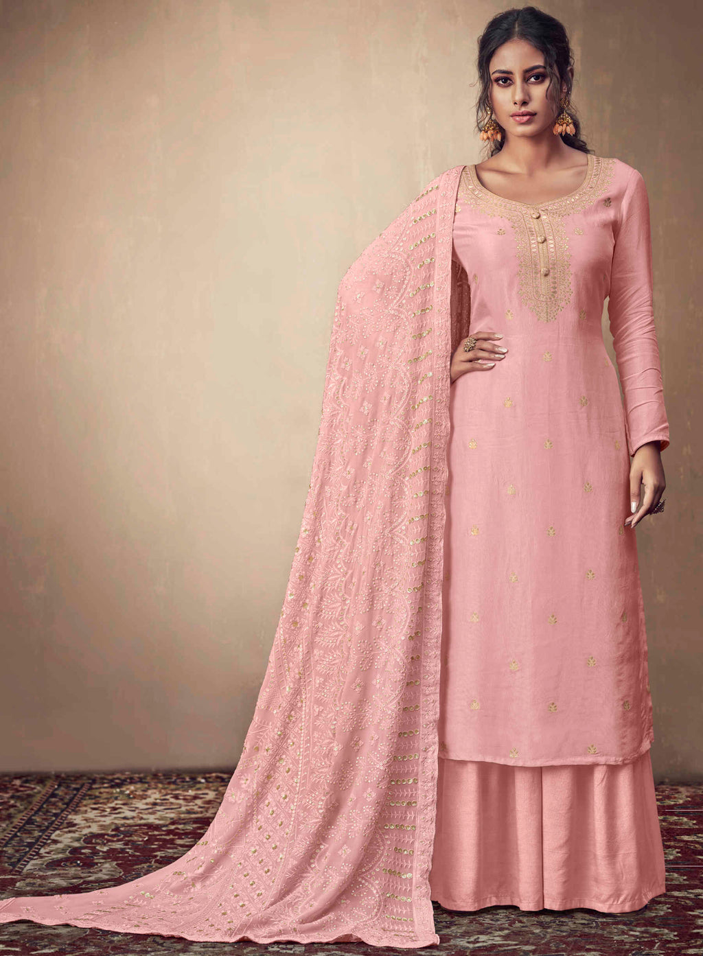 Pink Color Banarasi Jacquard  Designer Semi- Stitched Straight Suit NYF-8772