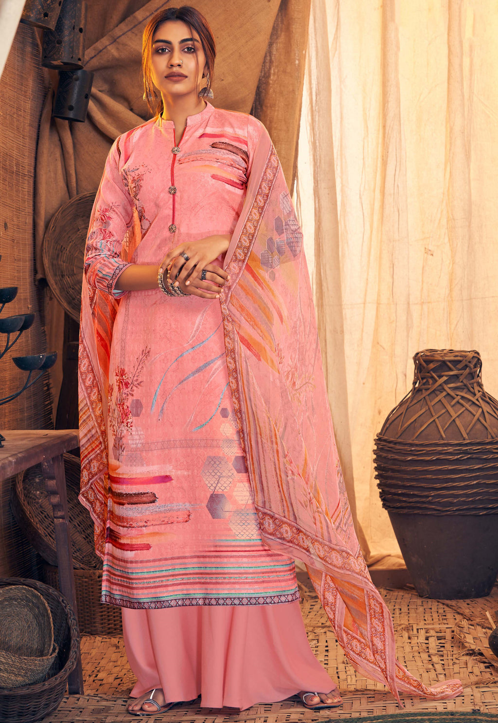 Pink Color Pashmina Designer Semi- Stitched Straight Suit NYF-8777