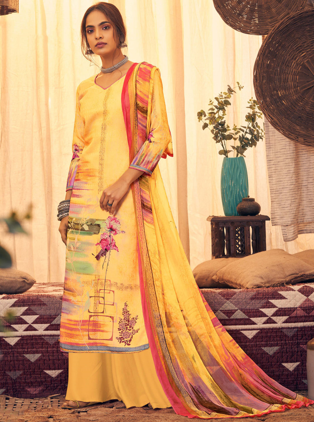 Yellow Color Pashmina Designer Semi- Stitched Straight Suit NYF-8778