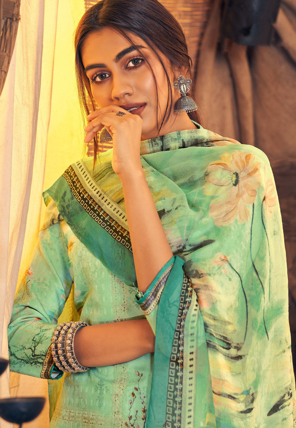 Pastel Green Color Pashmina Designer Semi- Stitched Straight Suit NYF-8779