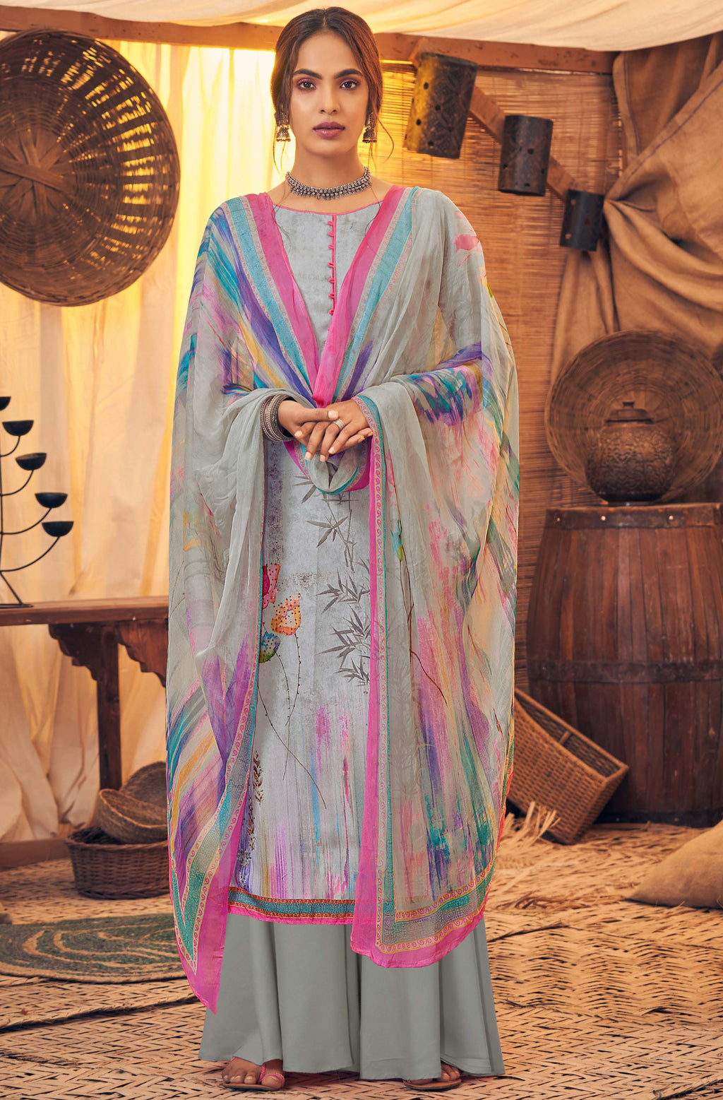 Grey Color Pashmina Designer Semi- Stitched Straight Suit NYF-8780