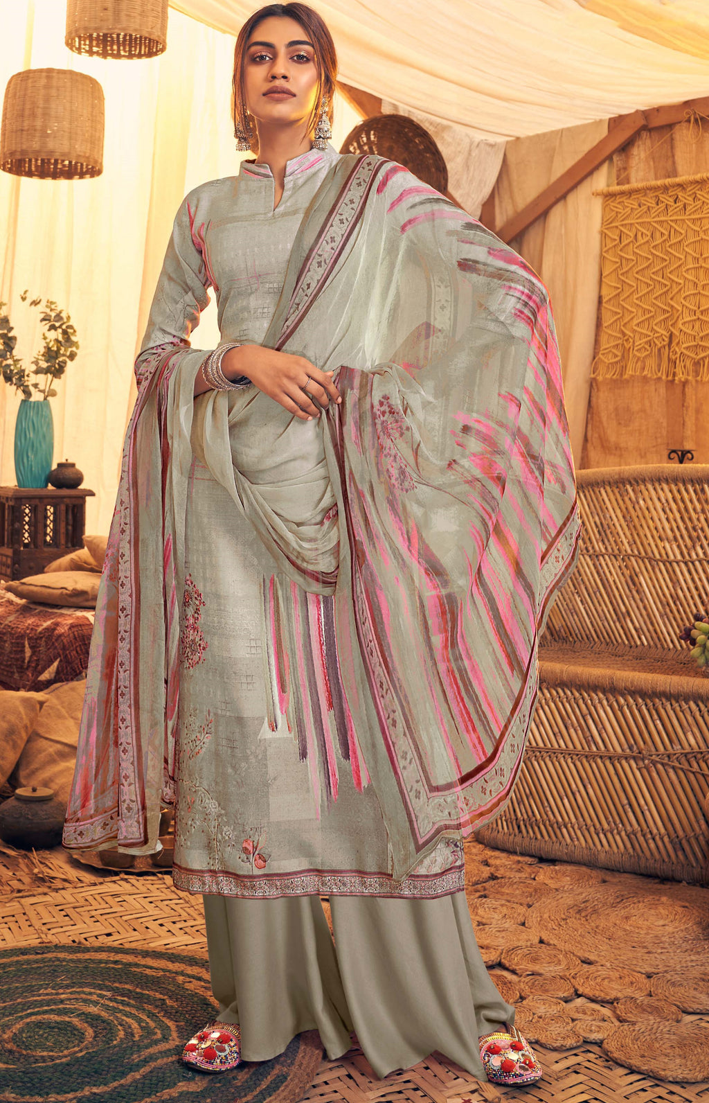 Grey Color Pashmina Designer Semi- Stitched Straight Suit NYF-8782