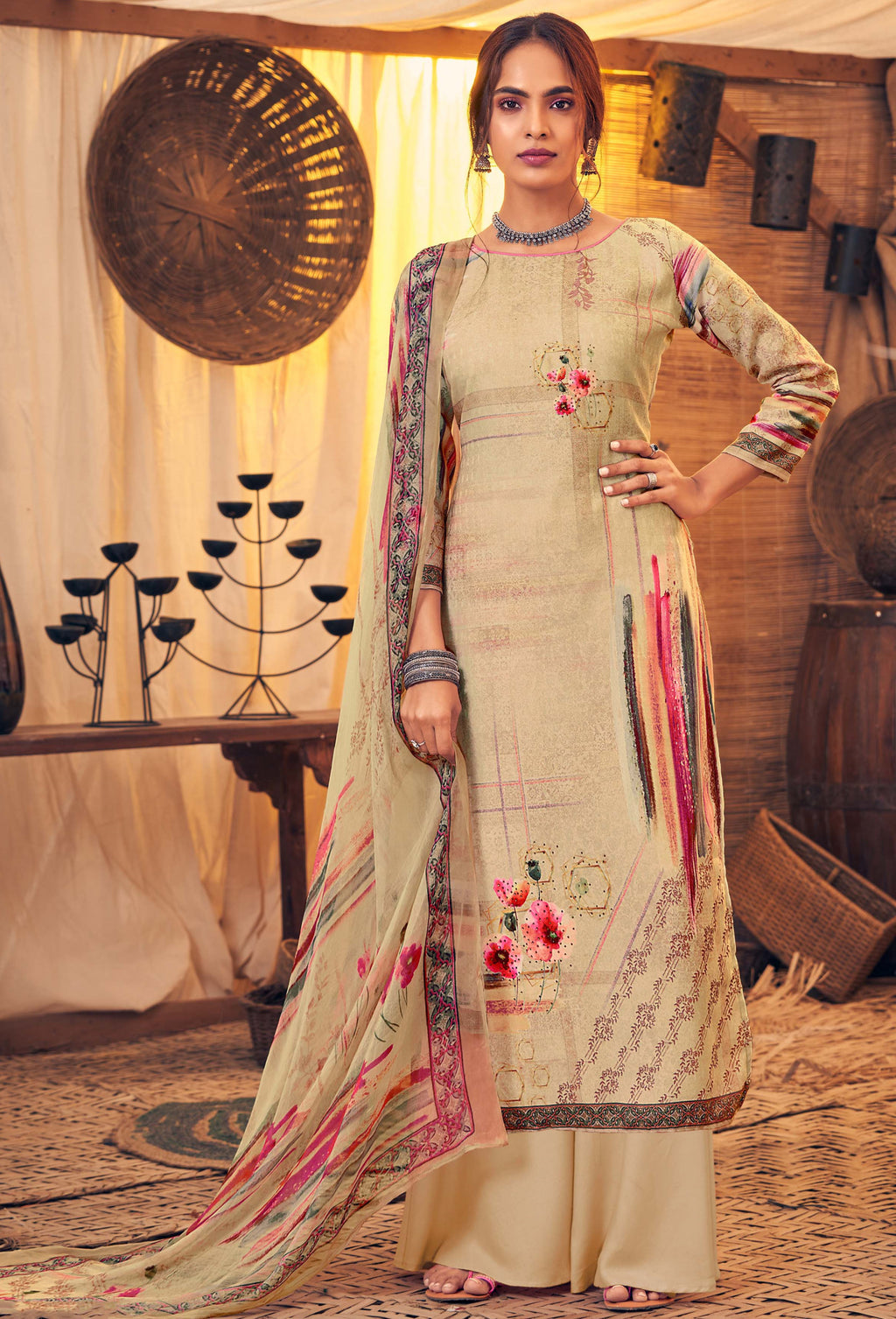 Beige Color Pashmina Designer Semi- Stitched Straight Suit NYF-8783