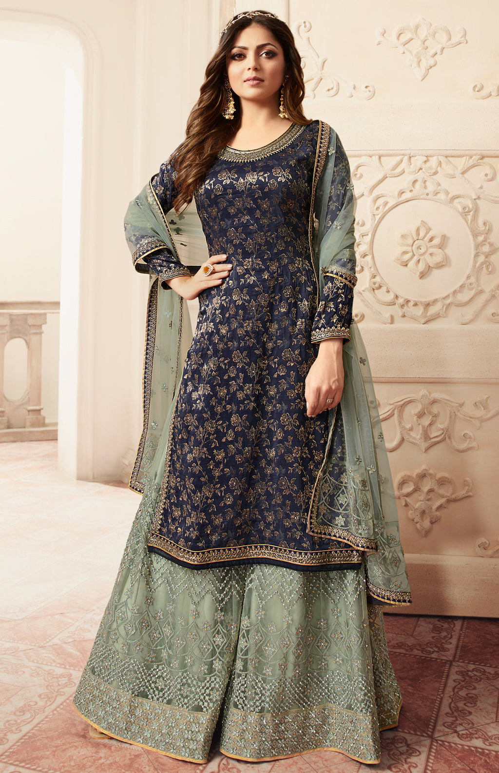 Blue Color Jacquard Silk Designer Semi- Stitched Sharara Suit NYF-8785