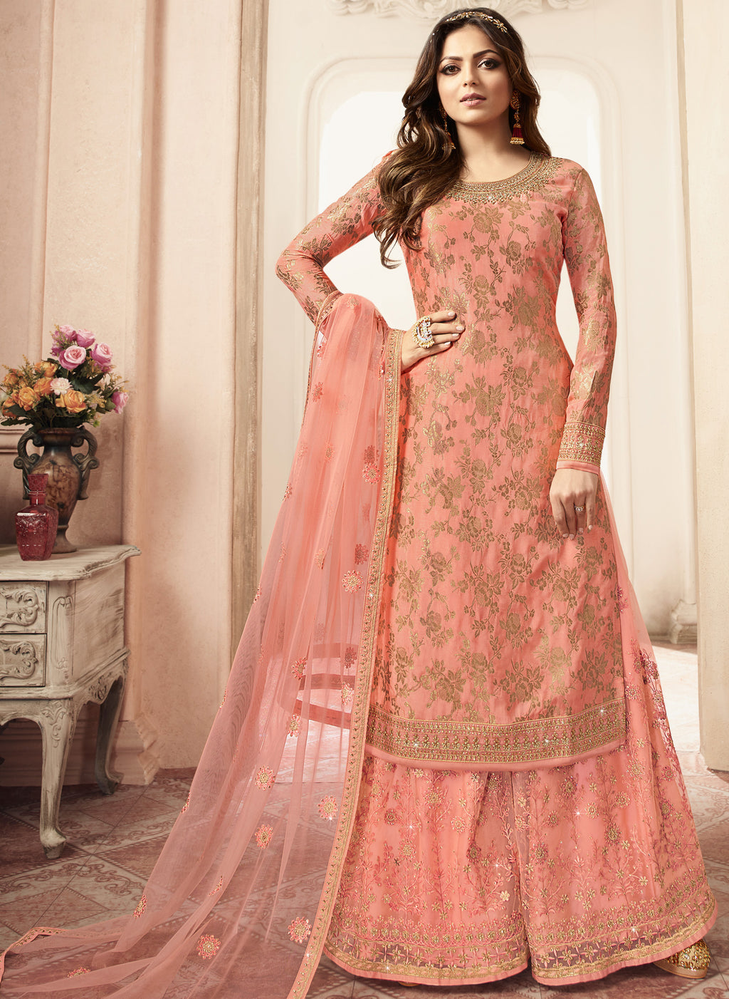 Peach Color Jacquard Silk Designer Semi- Stitched Sharara Suit NYF-8786